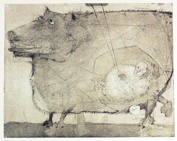 Nina Hotopp  Wolfshund . 2012 .Radierung / Strichätzung . 25 x 32 cm . Auflage 25  180 Euro