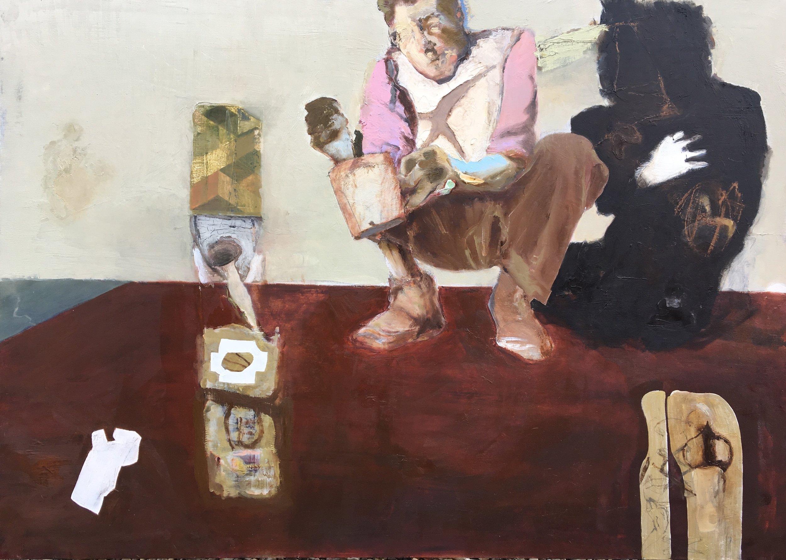 Honighocker, 2019, Öl/Acryl auf Leinwand, 100 x 140 cm