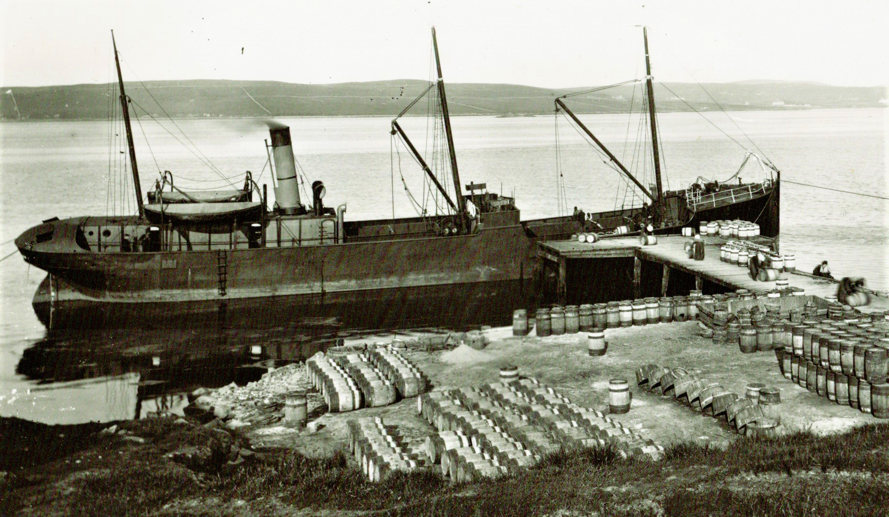 SS Robin loading a barrel cargo of salted Herrings, Lerwick, Scotland. c 1892