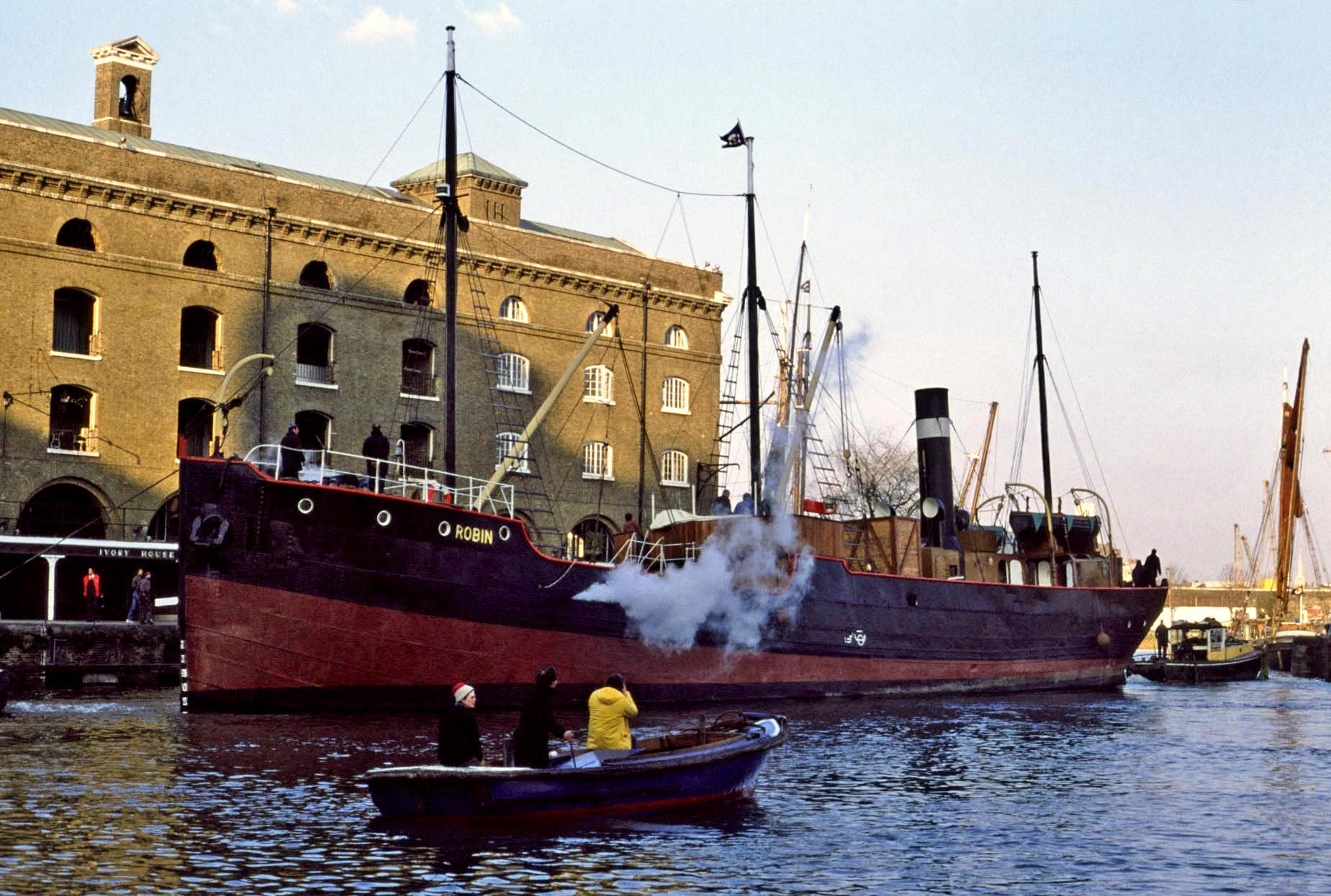 Arrival at St.Katherine's Dock 1980