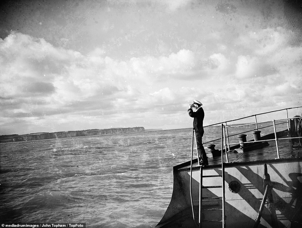SS Eston's Captain fixing his ships position from the land