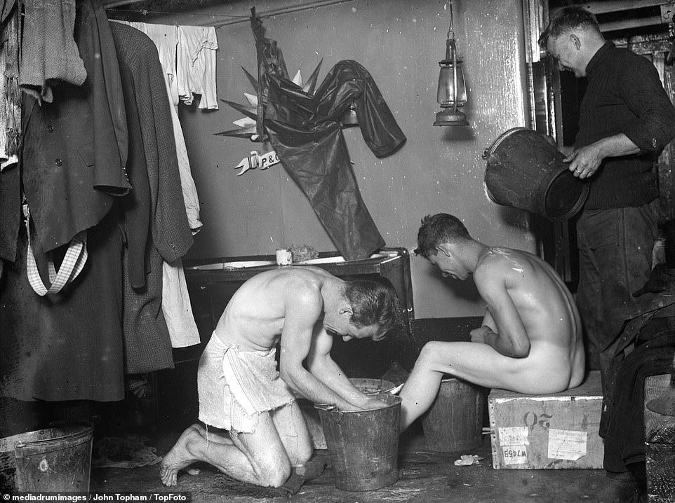 Crew bathtime on SS Eston