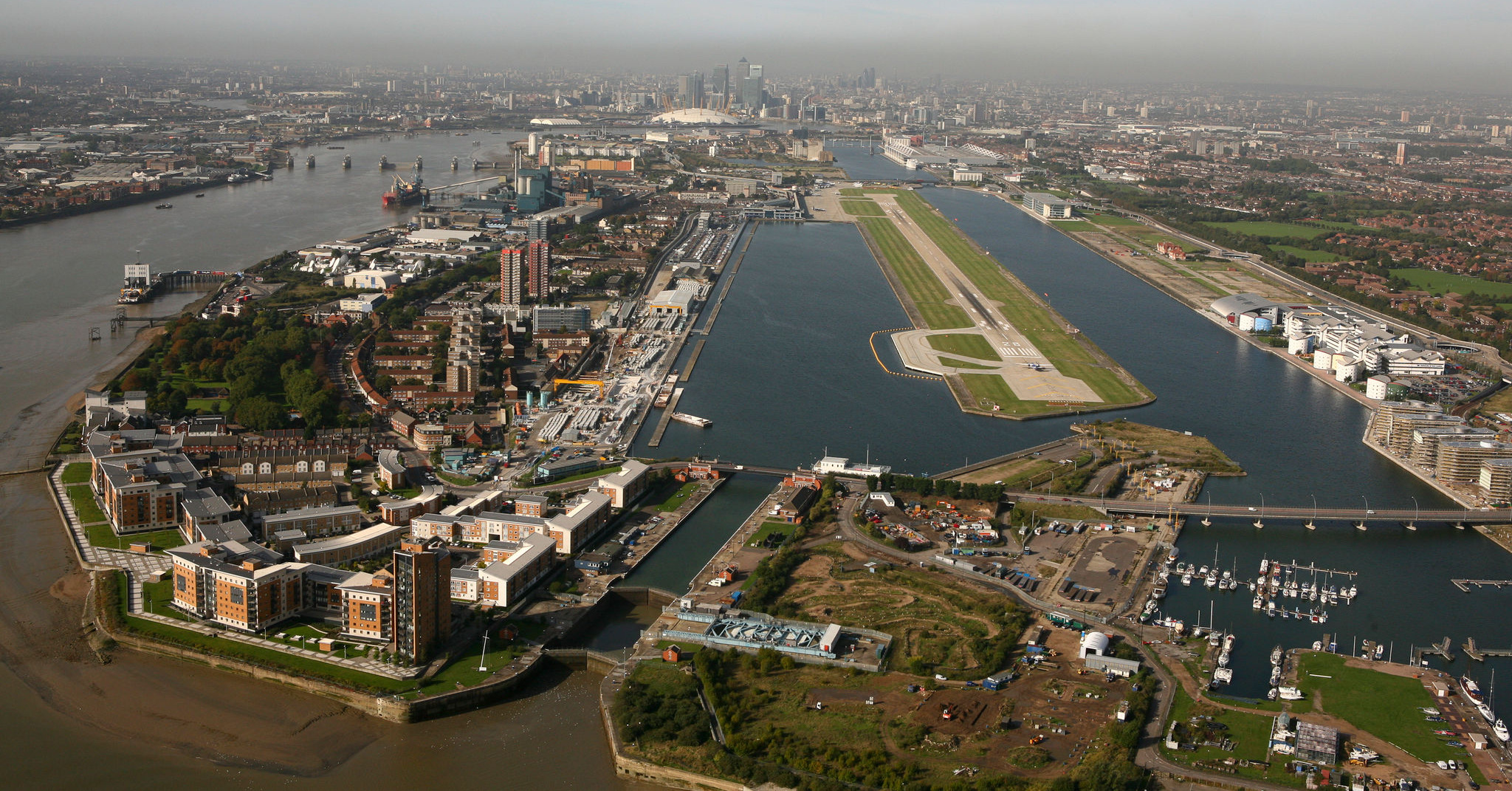 Royal Docks viewed from the east, looking towards central London with Thames to left