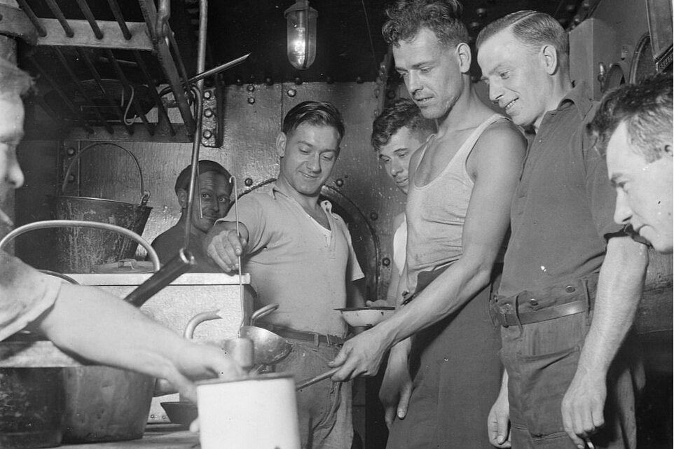 Crew of SS Eston in the ships galley