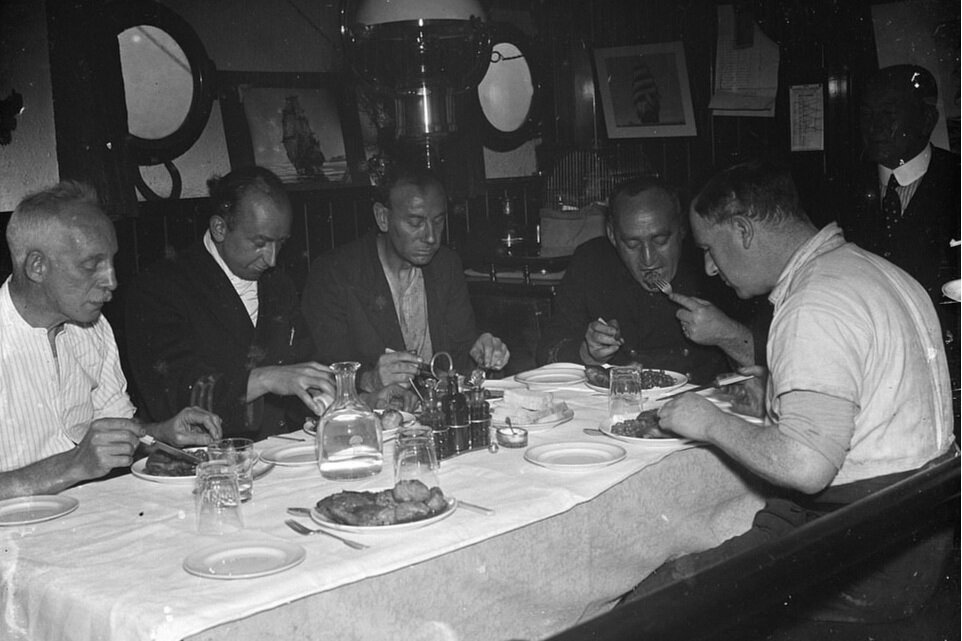 Crew of SS Eston eating together