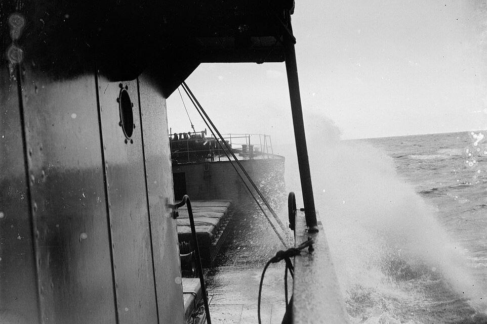 SS Eston at sea looking along cargo deck