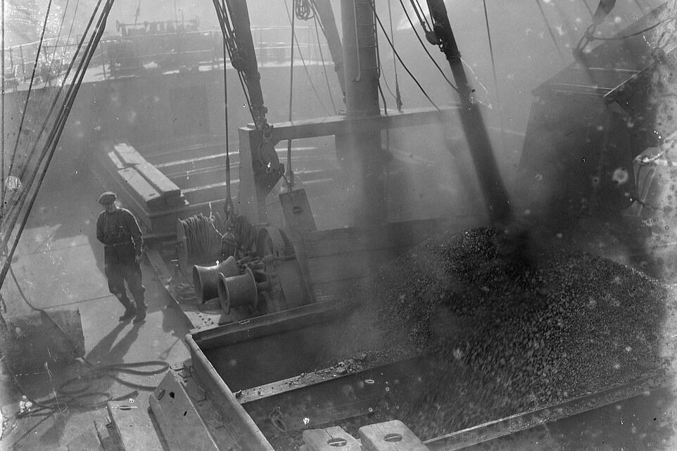 SS Eston being loaded with a cargo of coal
