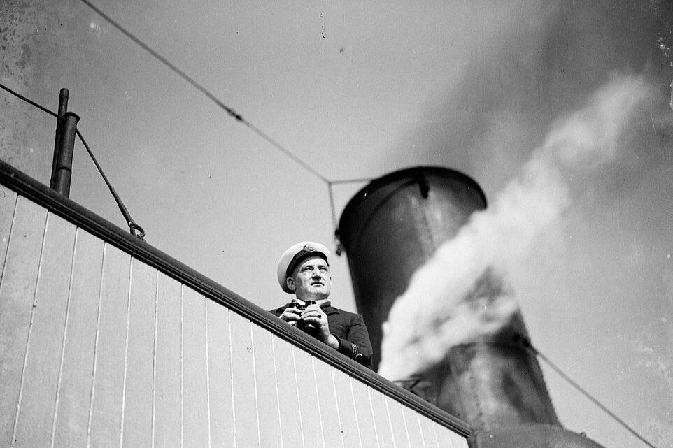 SS Eston's Captain on the ships bridge