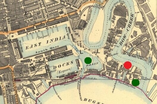 Orchard House Yard in red on banks of River Lea at Bow Creek. 1899