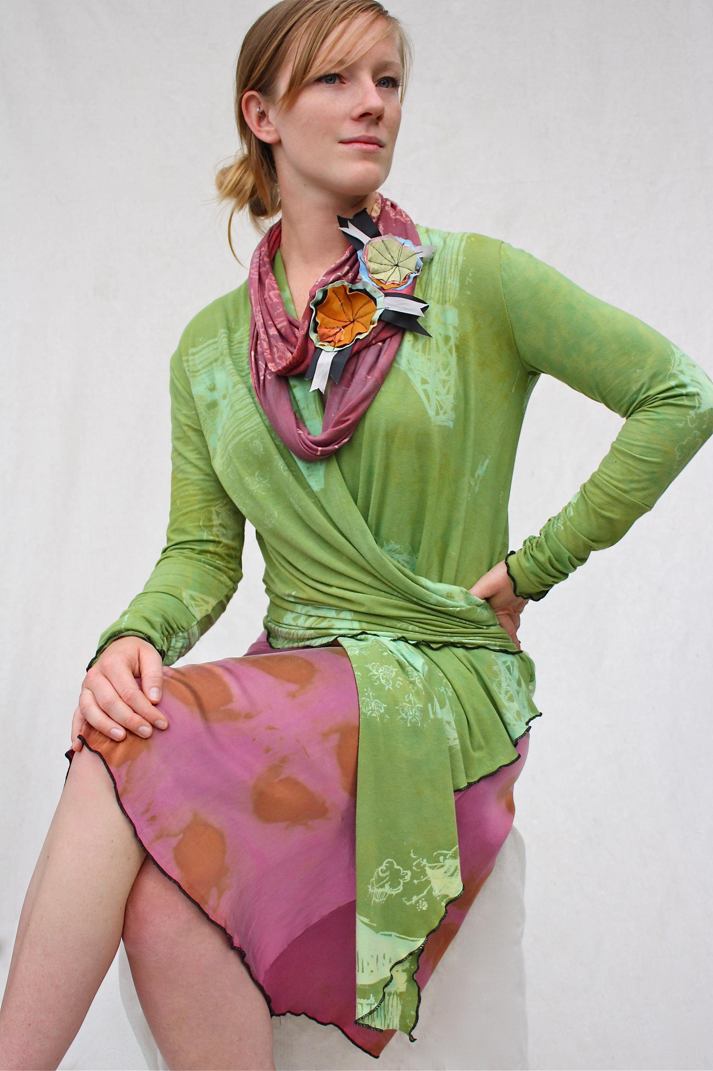 Cocoon Wrap Cardigan, Comet Loop Scarf, & Classic Silk Skirt.