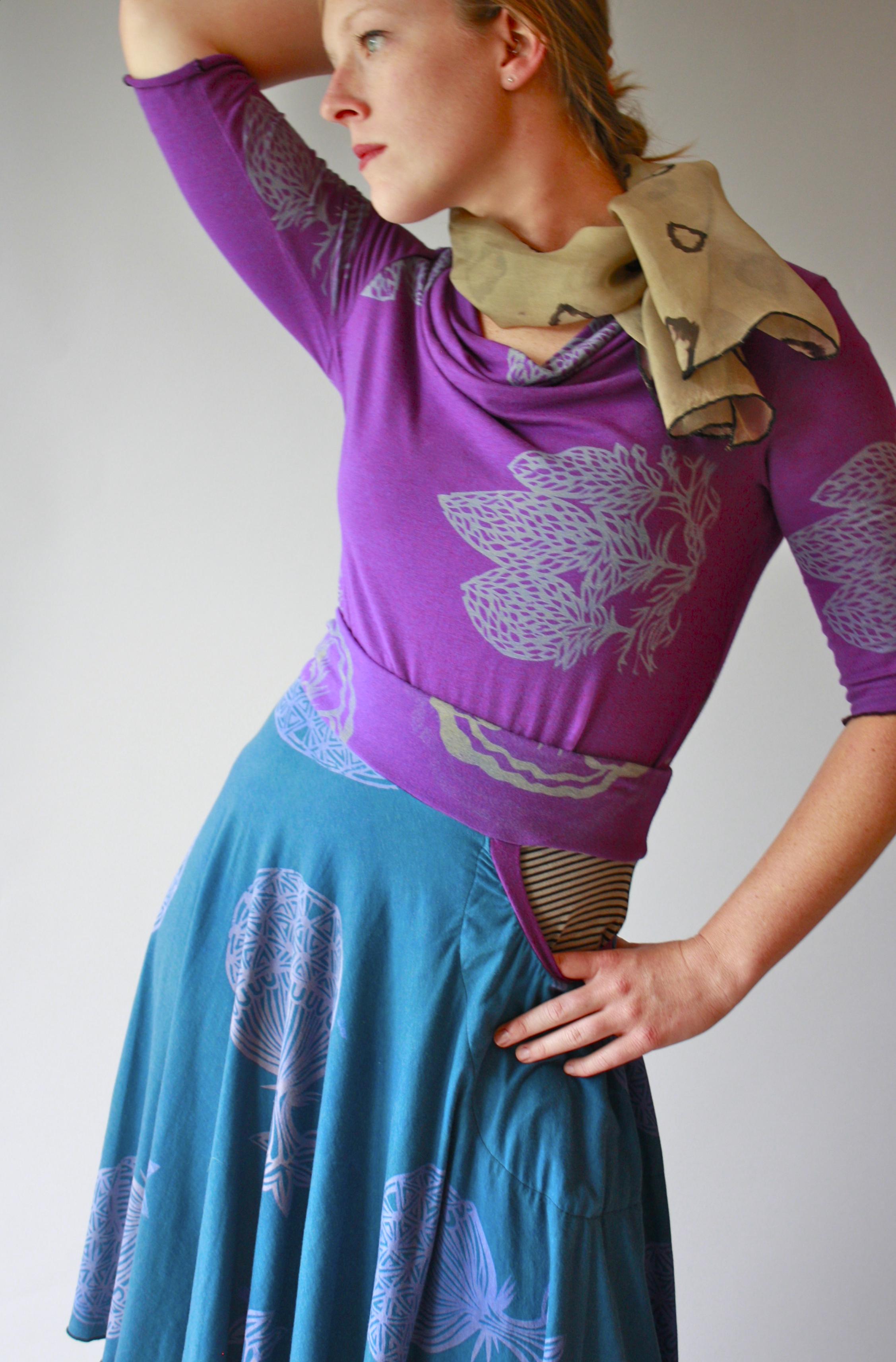 Carnival Cowl Tee, Horseshoe Skirt, & Dot Scarf.