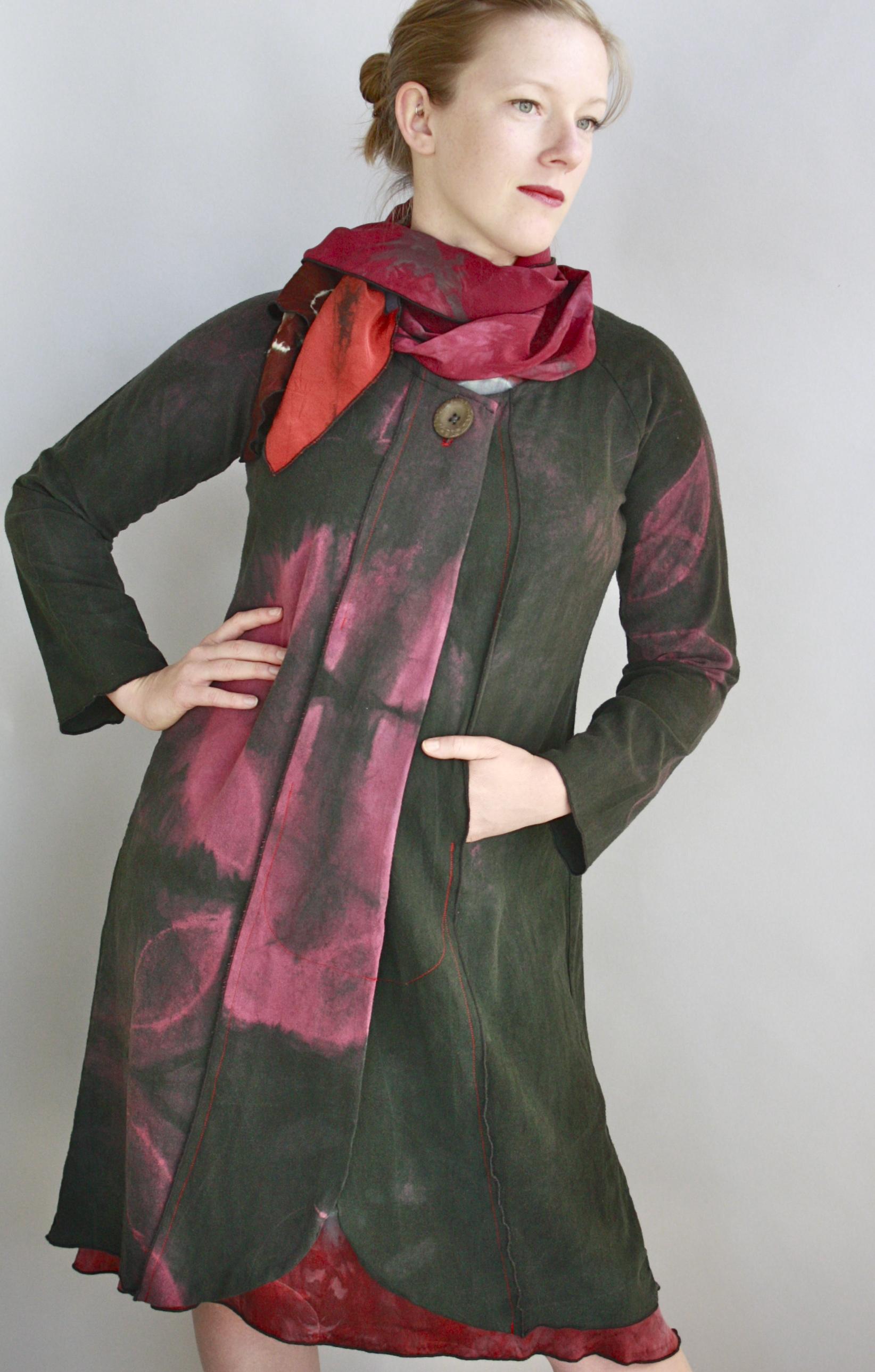 Raw Silk Coat & Collage Scarf.