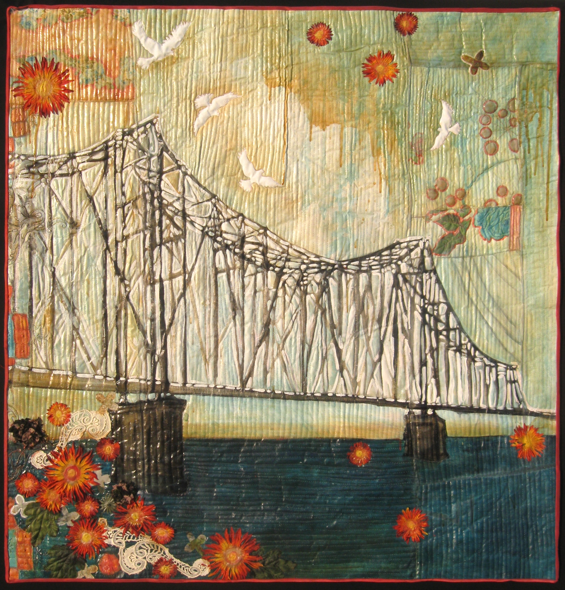 """Bridge with Birds,"" 46""h x 44""w, private collection."