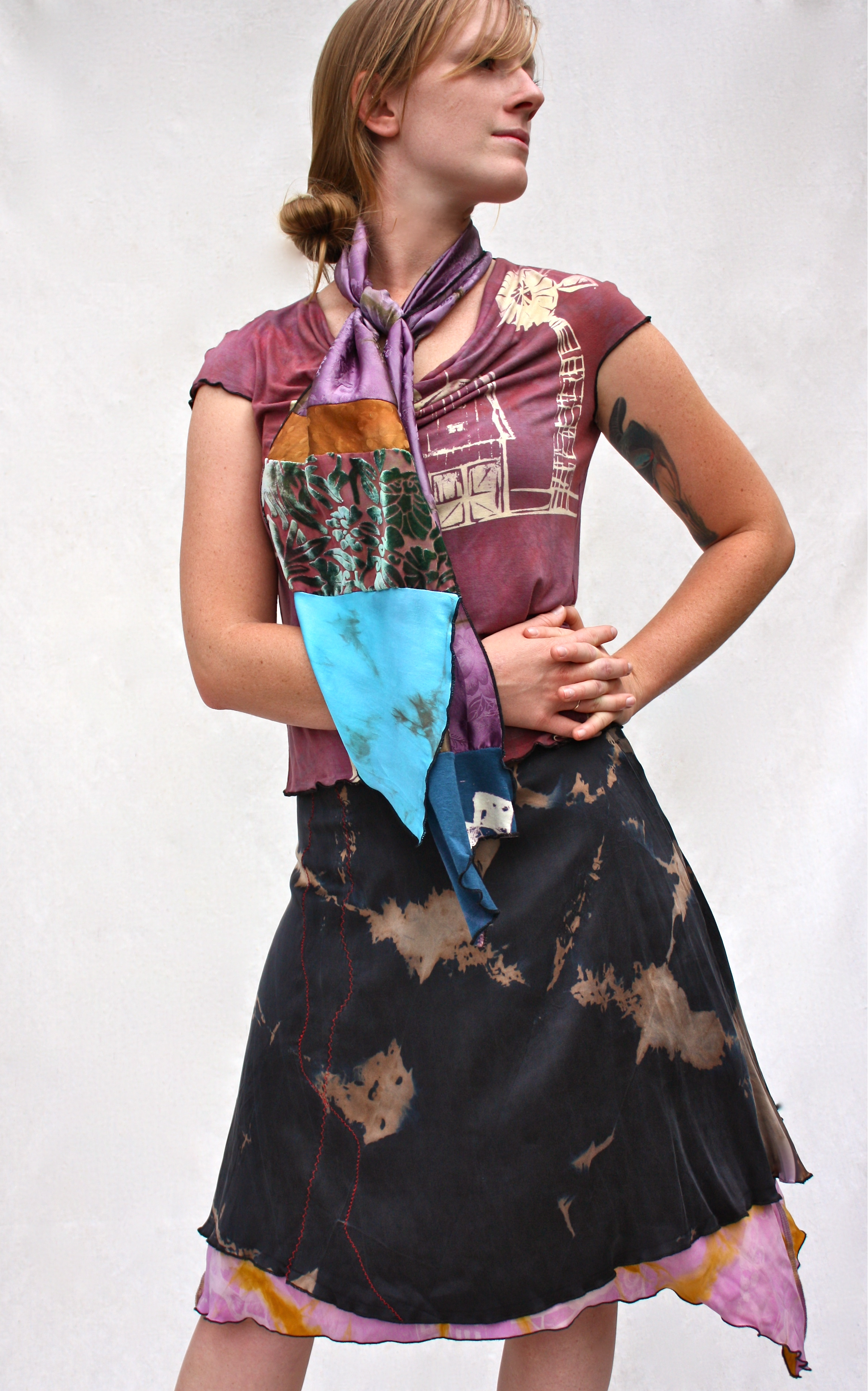 Carnival Cowl Tee, Collage Scarf, & Reversible Skirt.