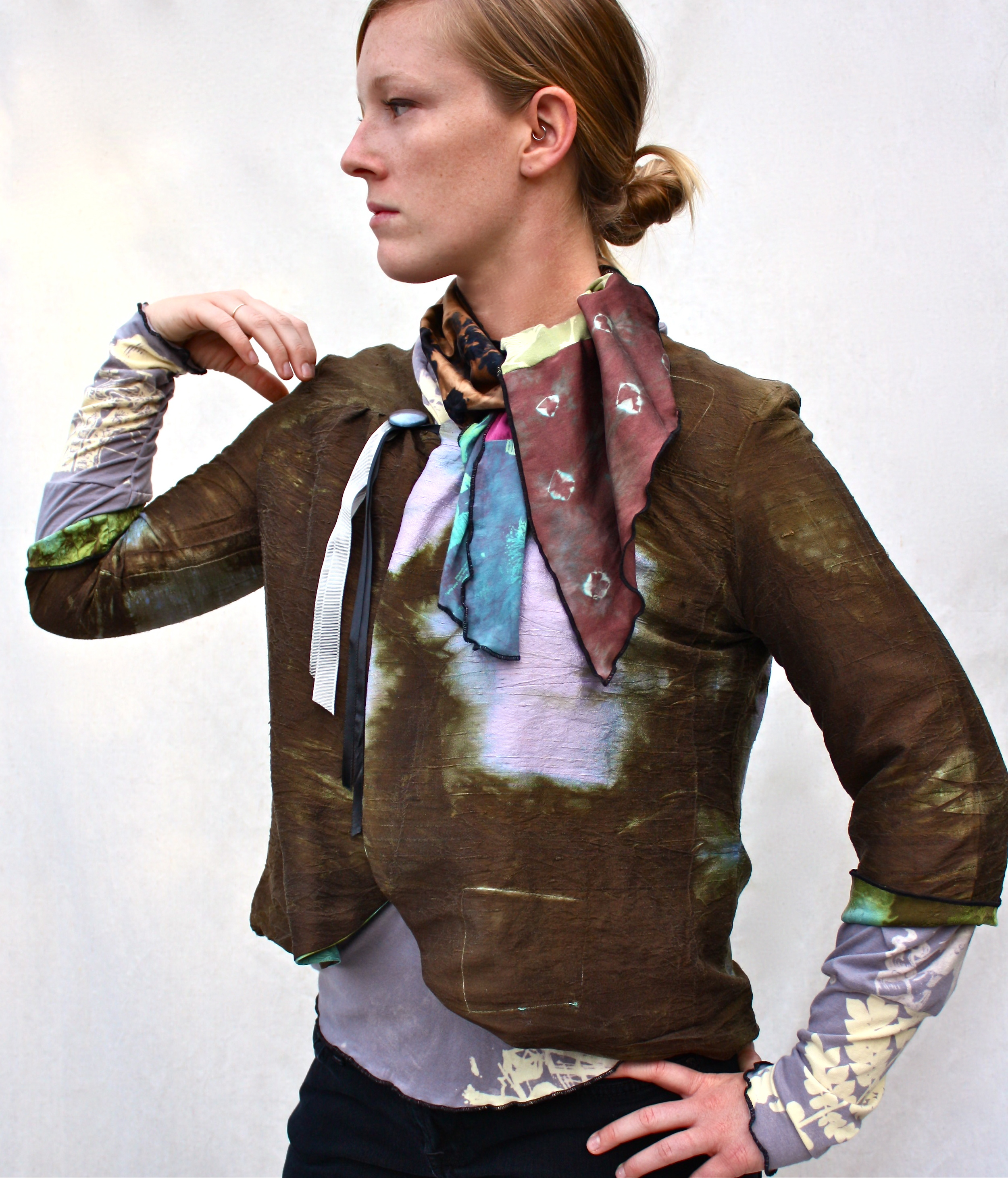 Reversible Silk Jacket, Cocoon Wrap Cardigan, & Collage Mini Scarf.