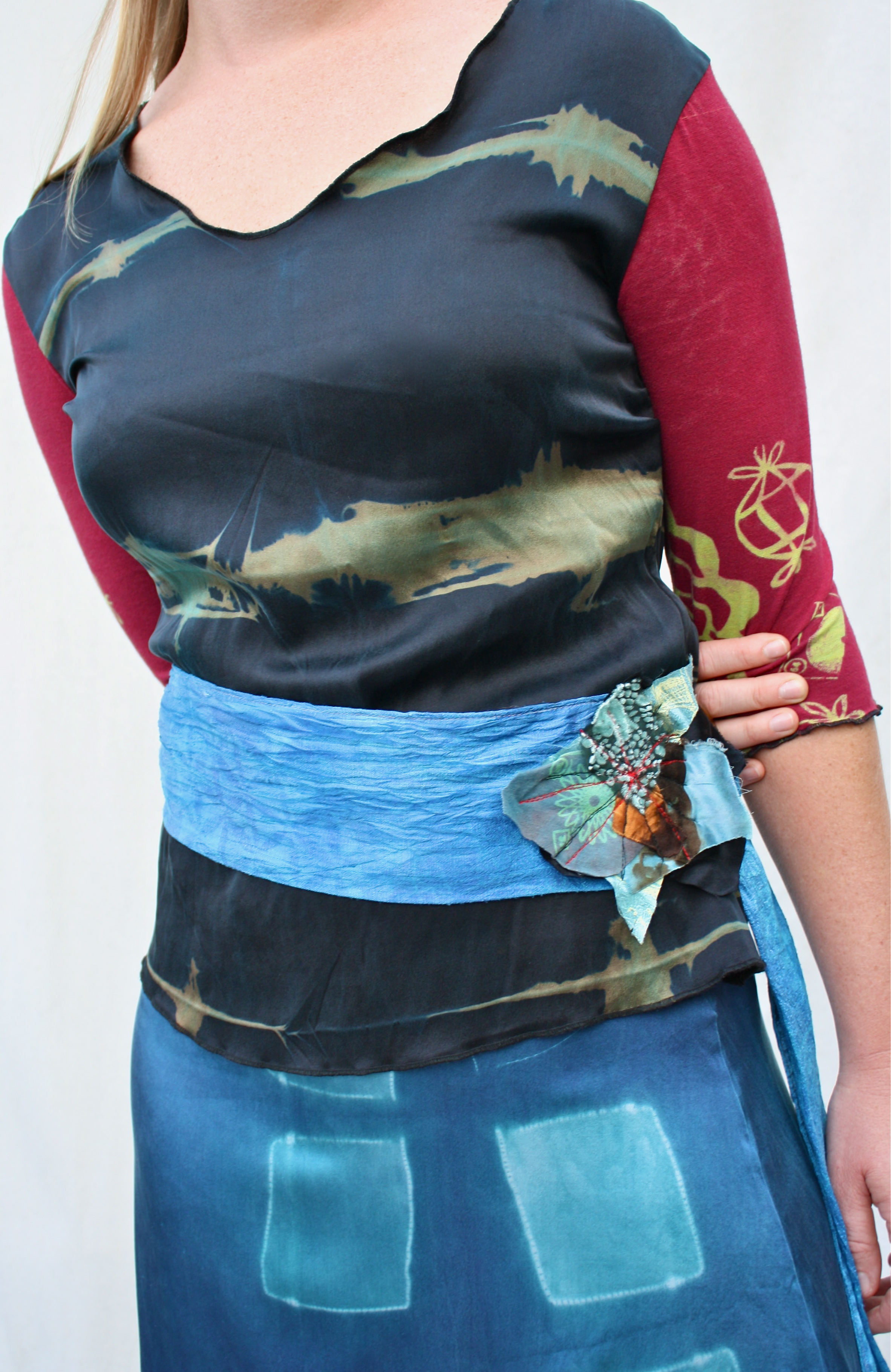 Classic Silk Tee, Firecracker Belt, & Classic Silk Skirt.