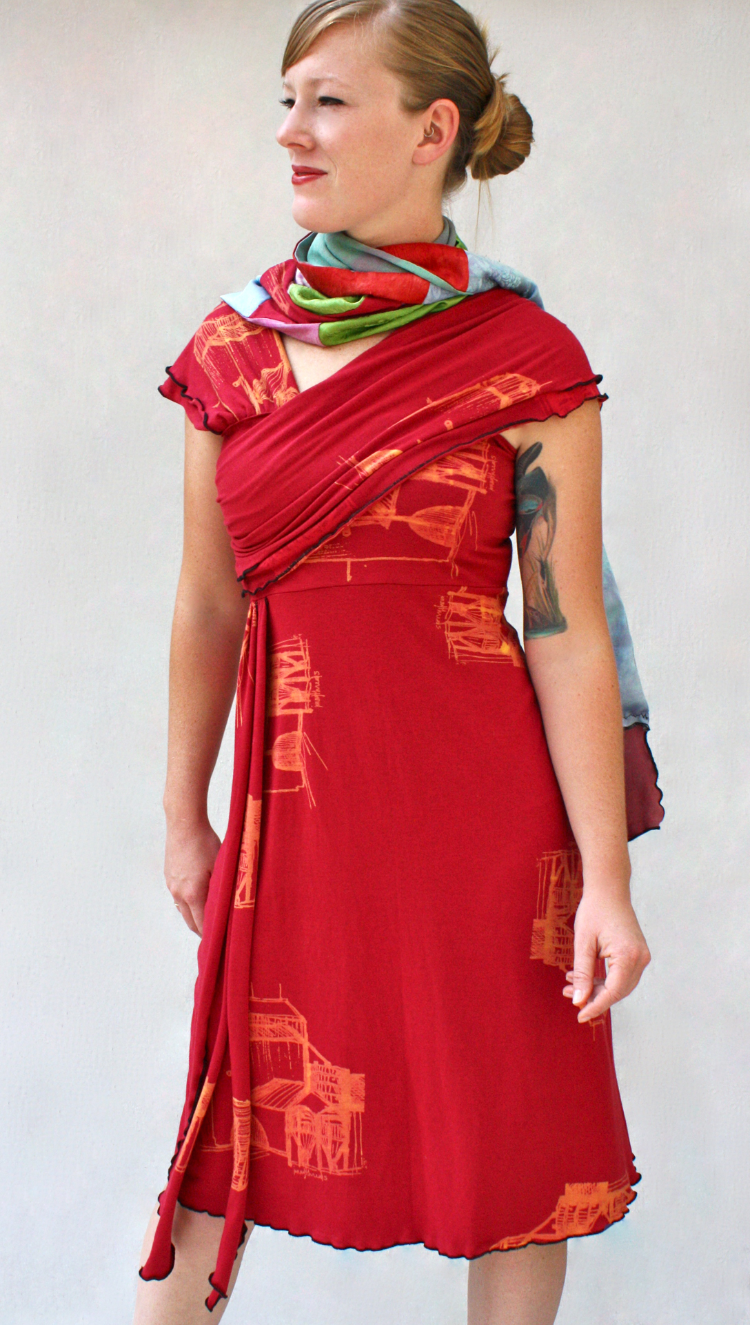 Double Collage Scarf & Draped Dress.