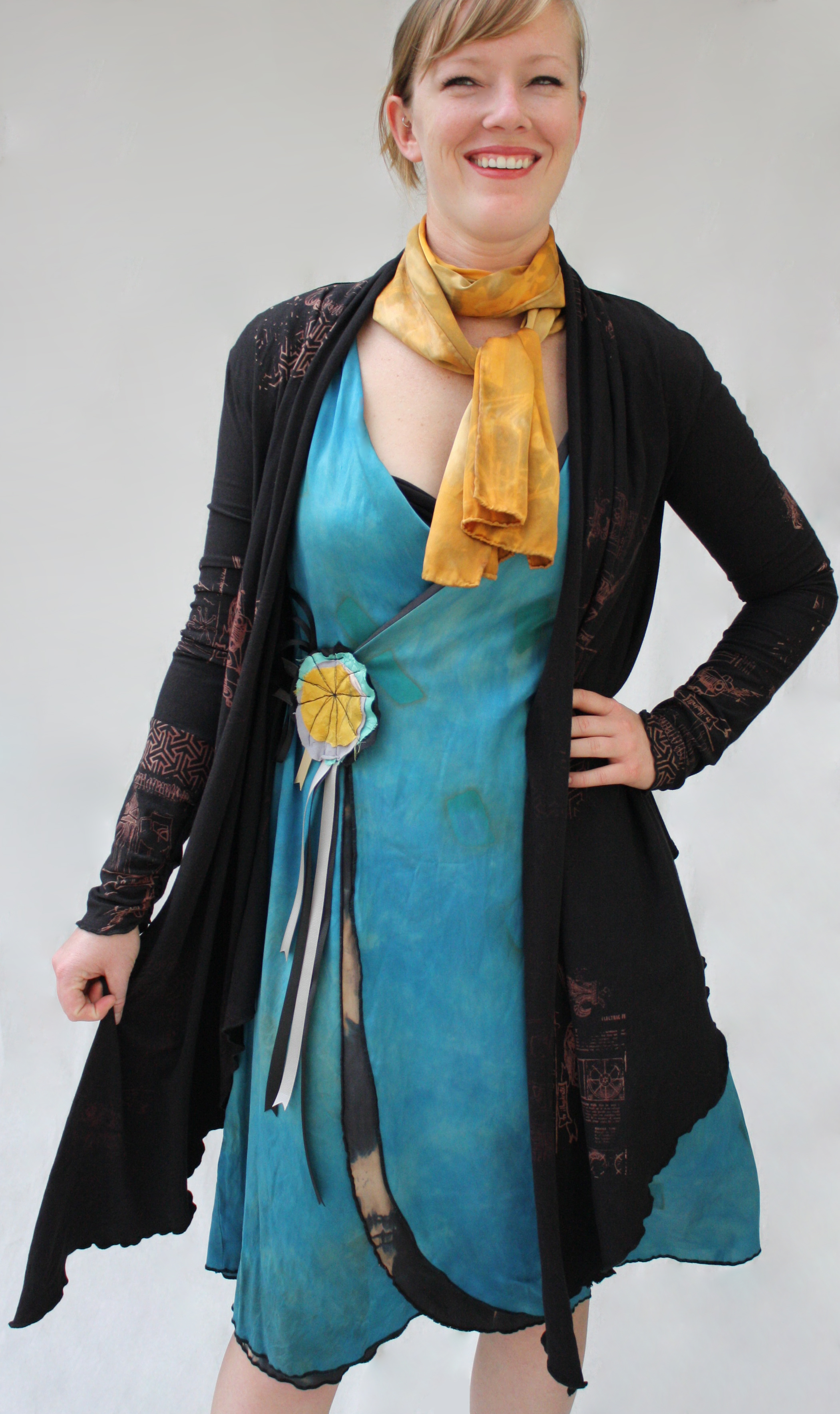 Cocoon Wrap Cardigan, Reversible Dress, & Scribble Scarf.