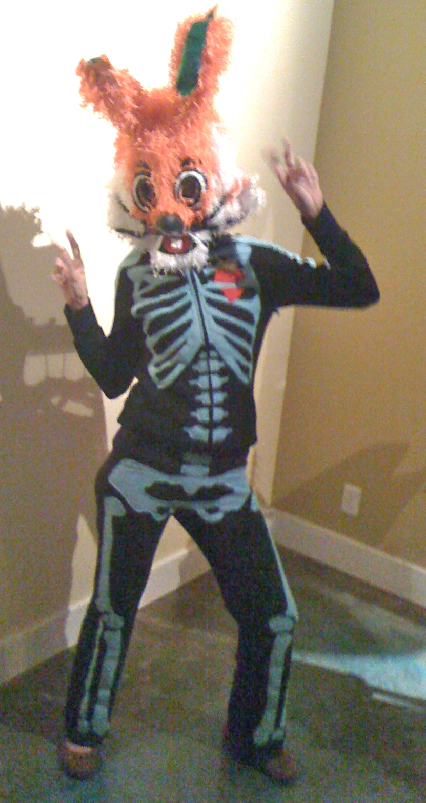 Halloween costume utilizing pinata mask & applique, collection of the artist.