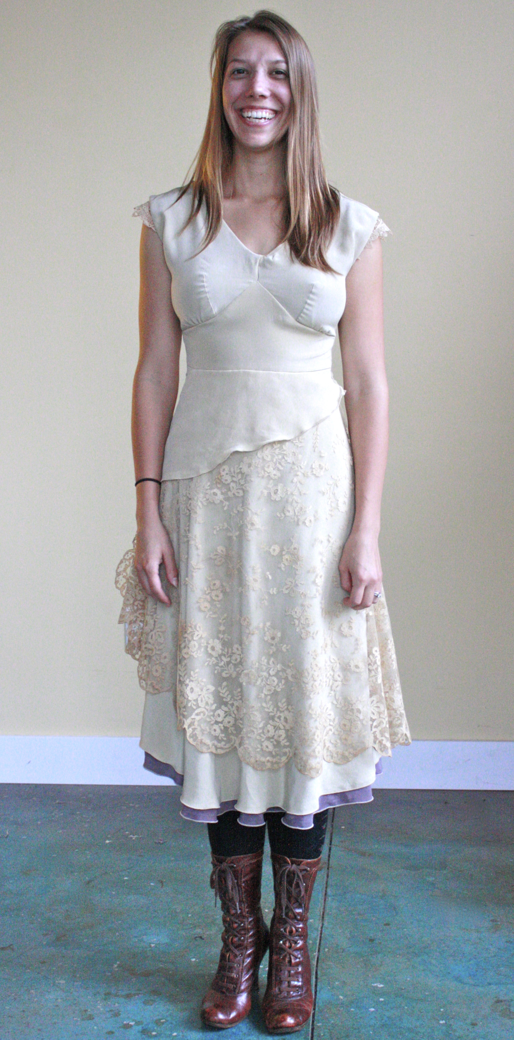 Custom silk crepe wedding dress hand dyed to match vintage lace, 2012.