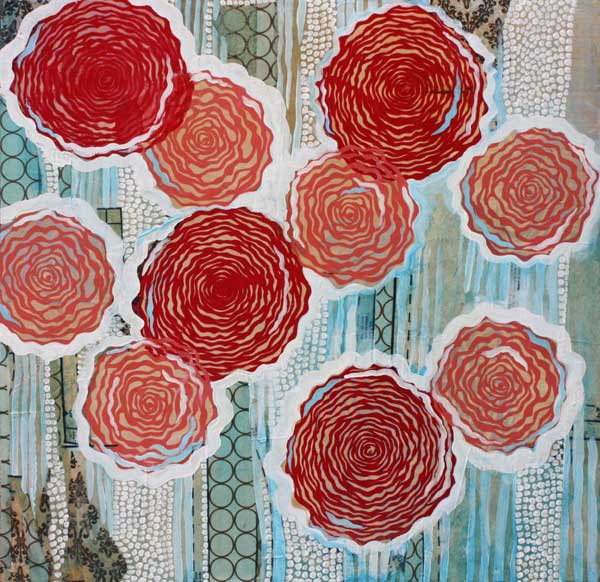"""Pink and Red Roses,"" 24"" x 24"", mixed media on wood, private collection."