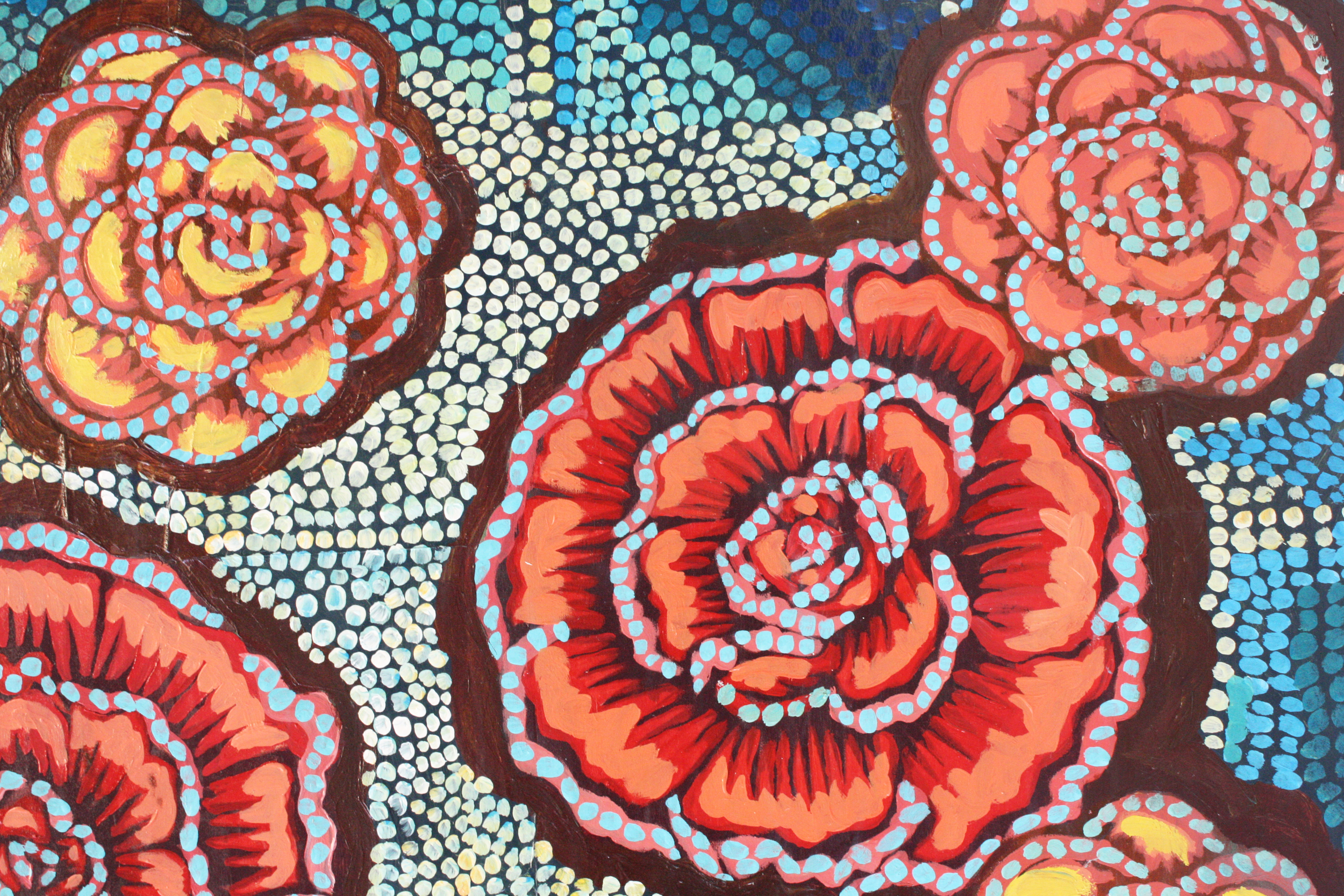"Detail, ""Roses on Blue."""