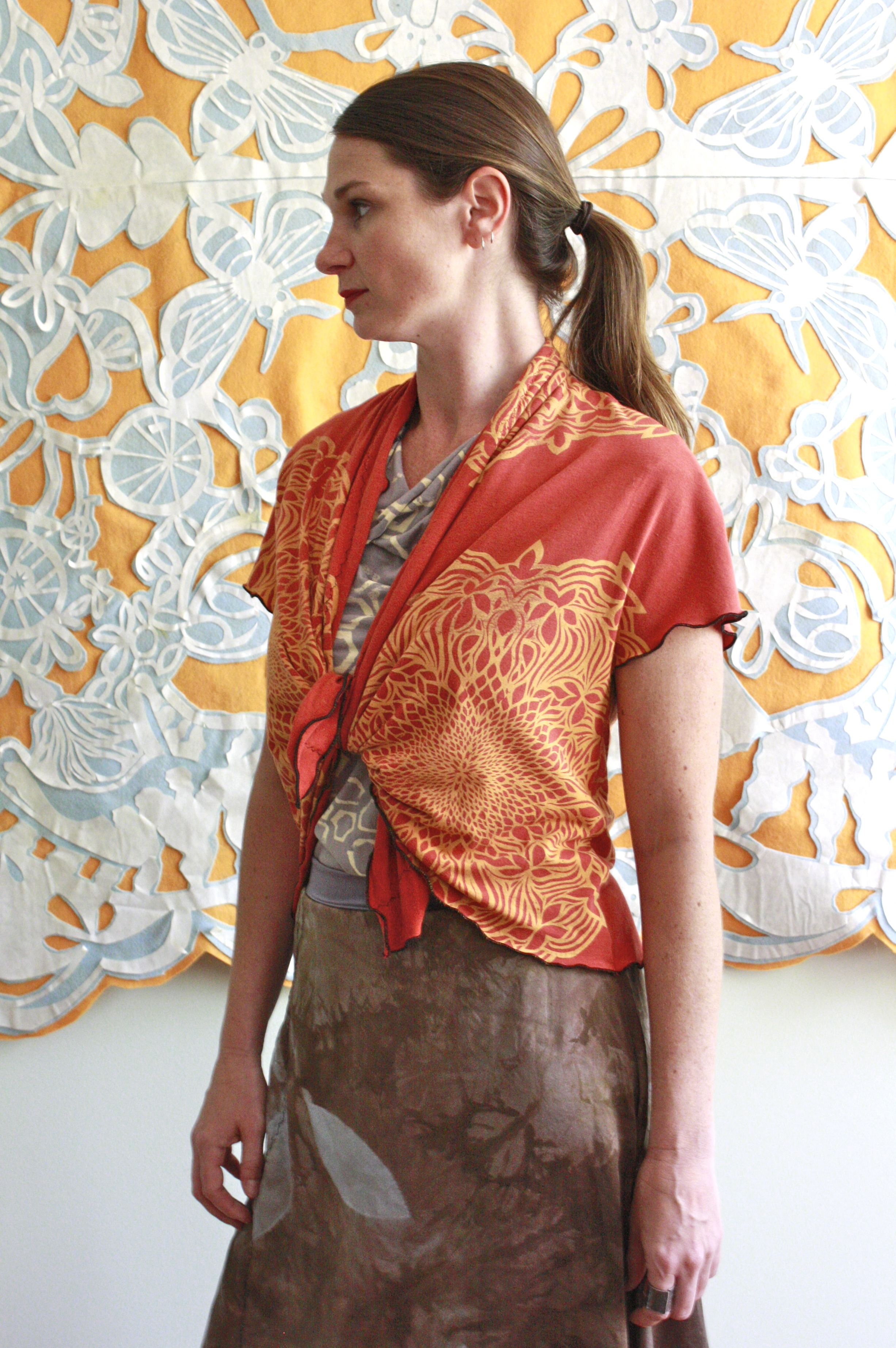 Starling Cardigan Classic Silk Skirt, the artist's home, North Carolina.
