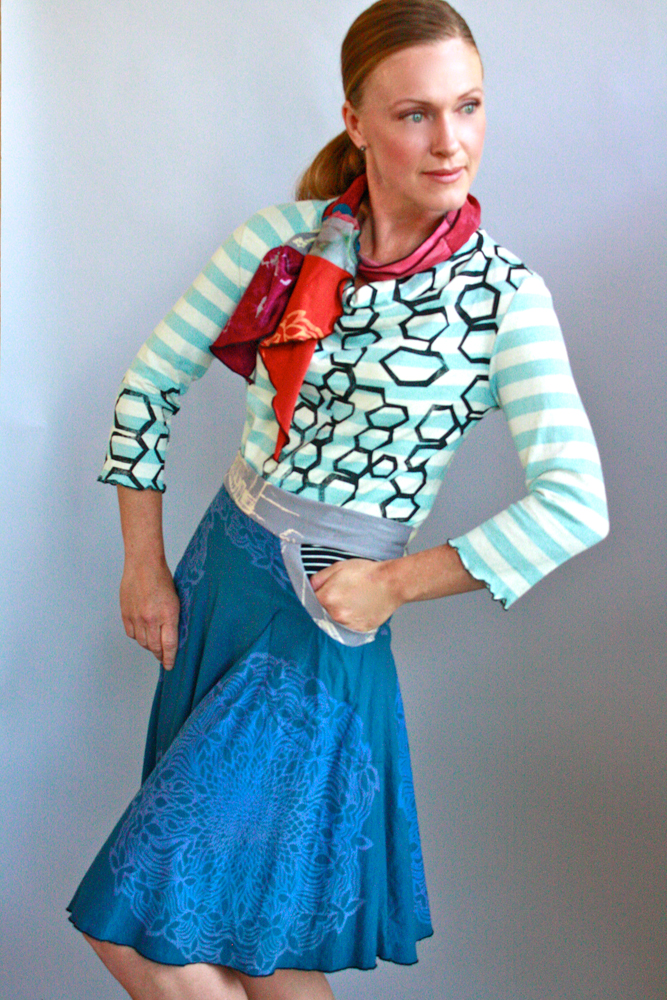 Carnival Cowl Tee, Collage Mini Scarf & Horseshoe Skirt