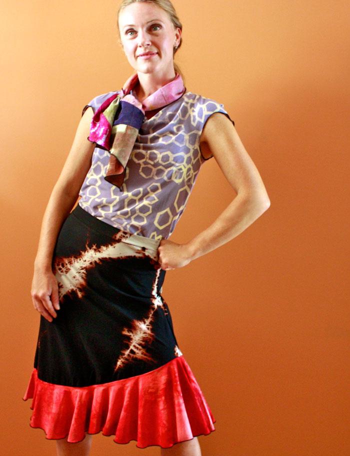 Cowl Tee, Mini Scarf & Mermaid Skirt