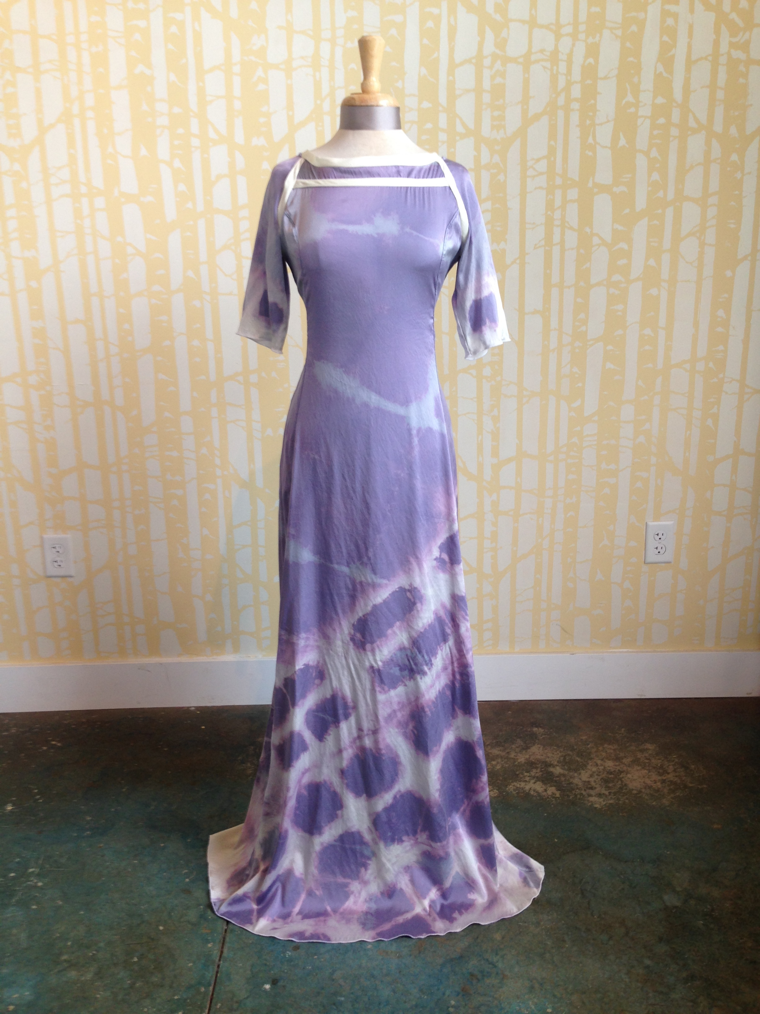 custom shibori dyed silk dress, 2015.