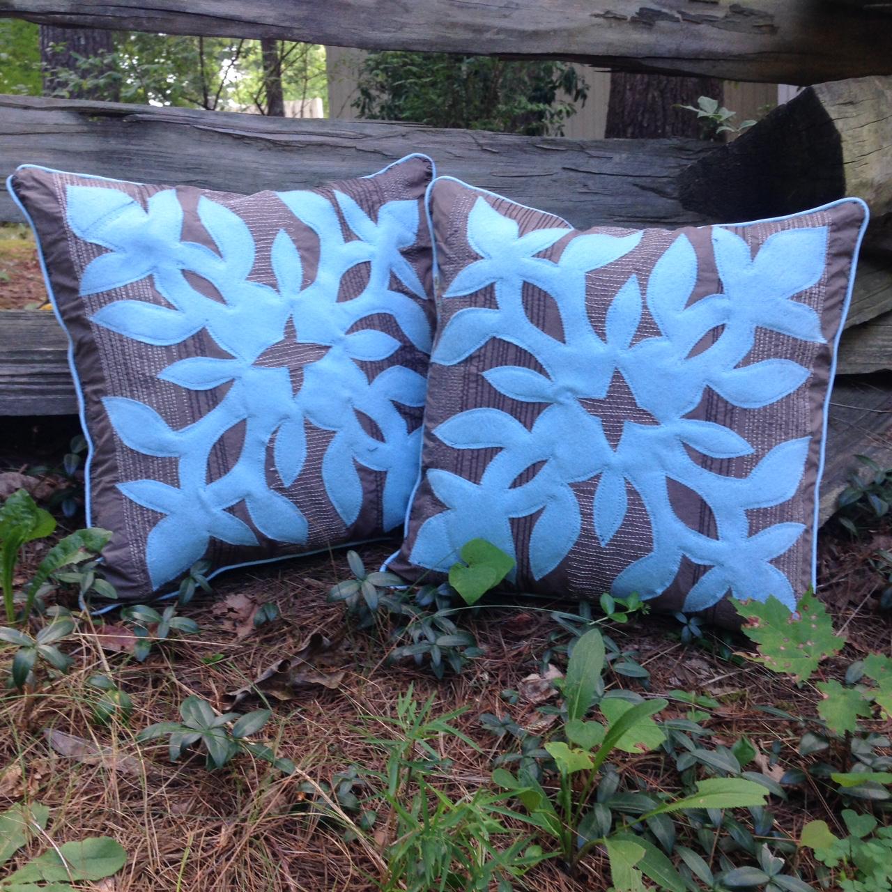 Hawaiian applique pillows.