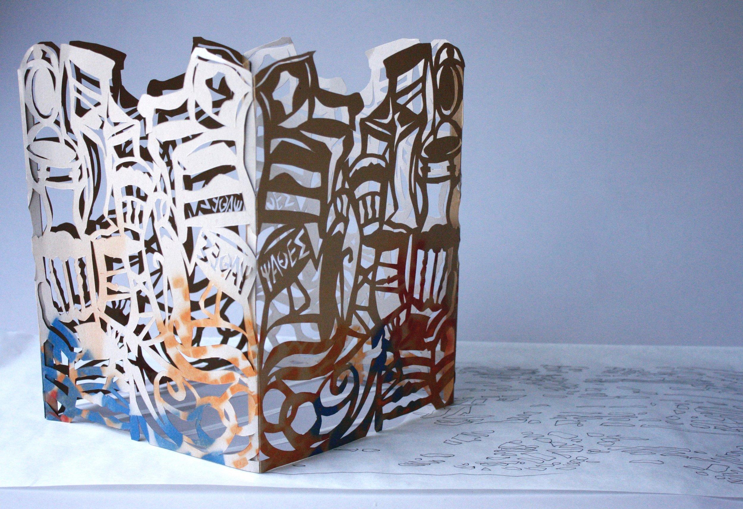"""Zaimi Chairs,"" papercut shadow sculpture, 2019."