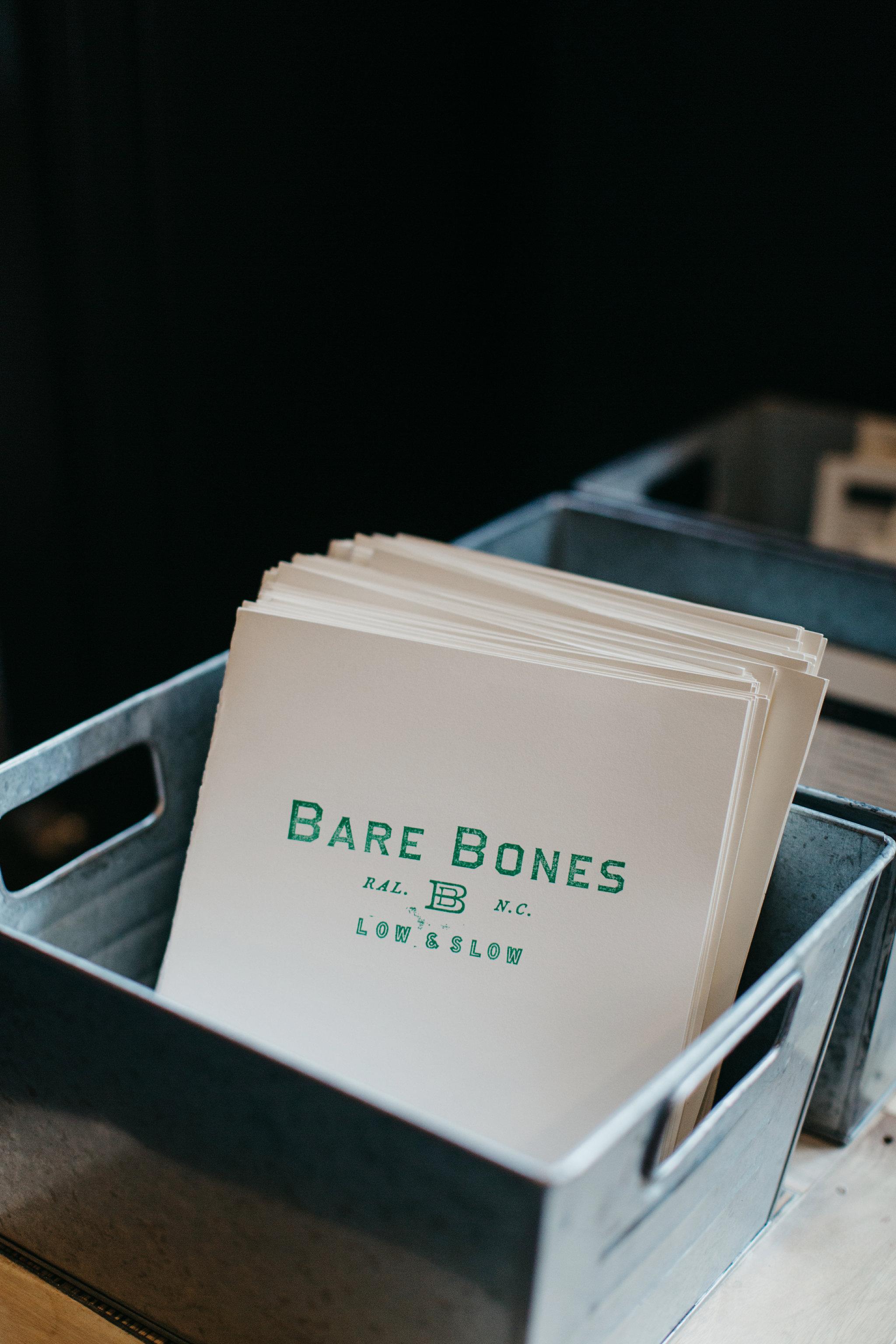 Design by Good South / Bare Bones Identity - Menu Application