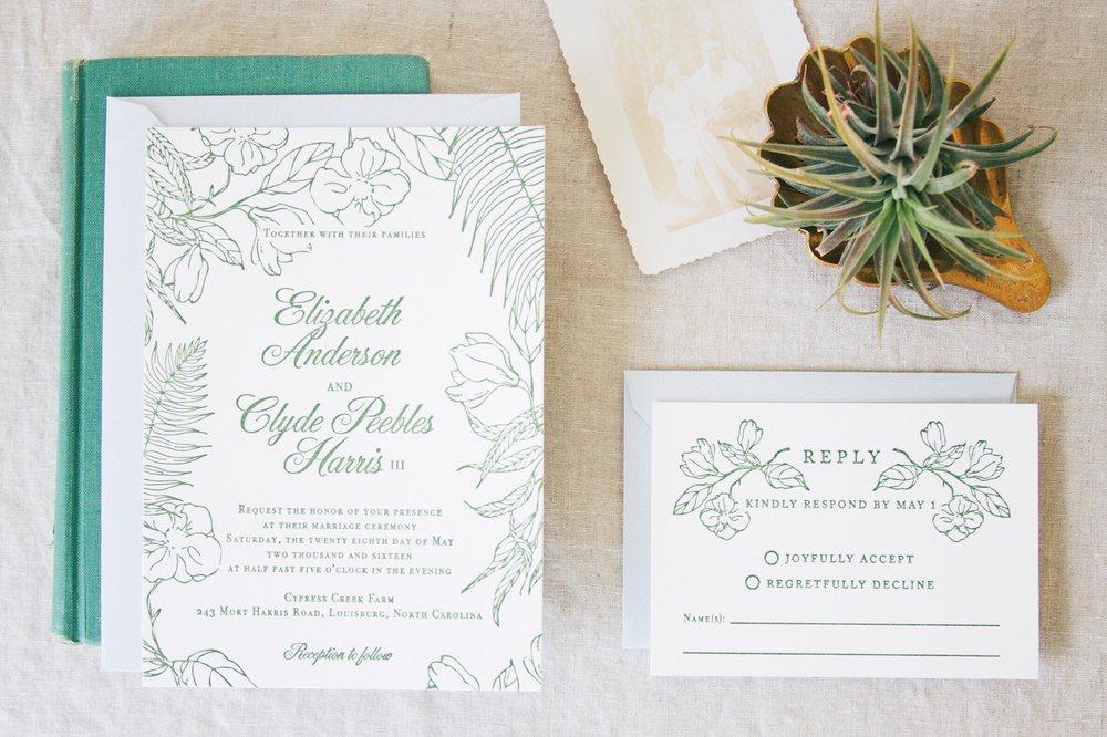 Design & Letterpress by Good South / Custom Letterpress Wedding Invitation