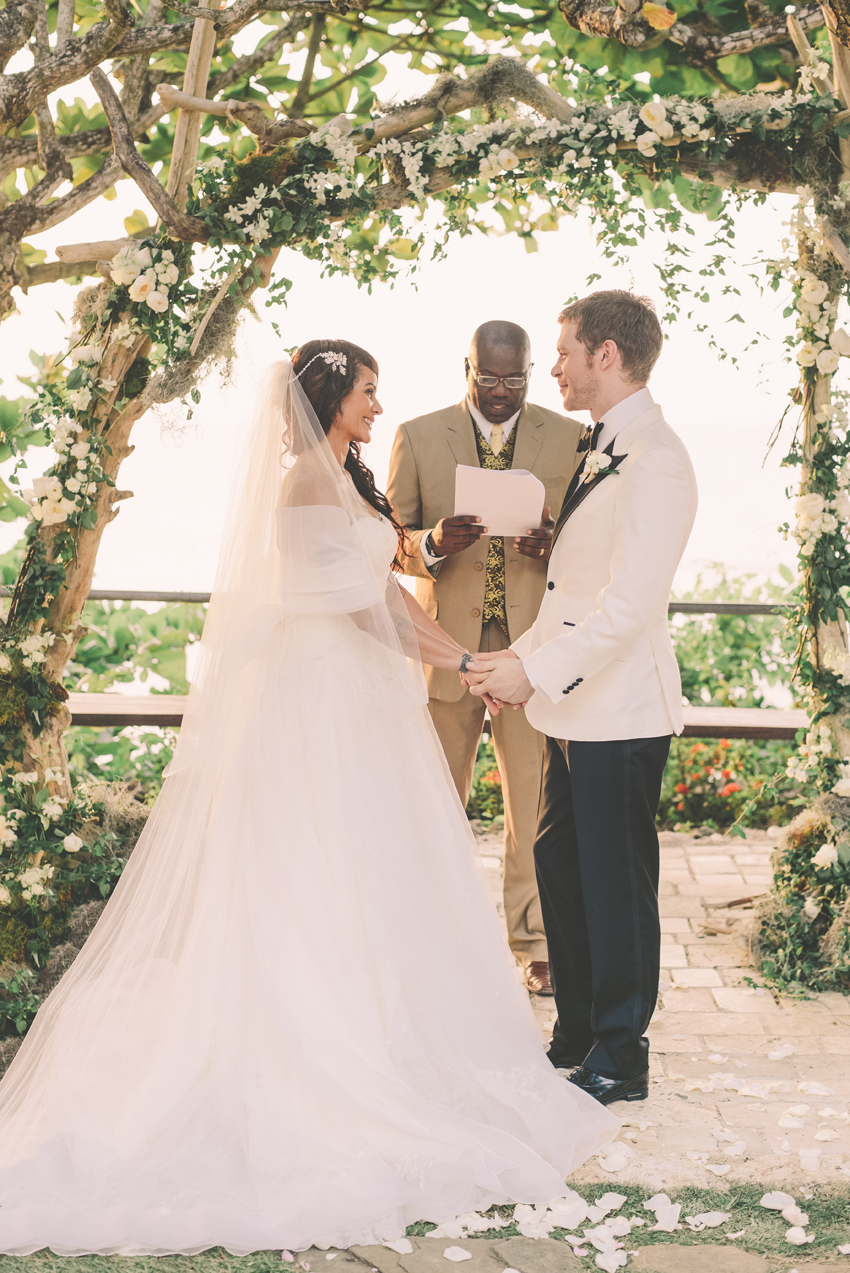 persia-white-joseph-morgan-wedding-goldeneye-hotel-oracabessa-jamaica-ocho-rios-ceremony-bride-groom-couple-wedding-arch-dress-vera-wang-sara-megan-photography