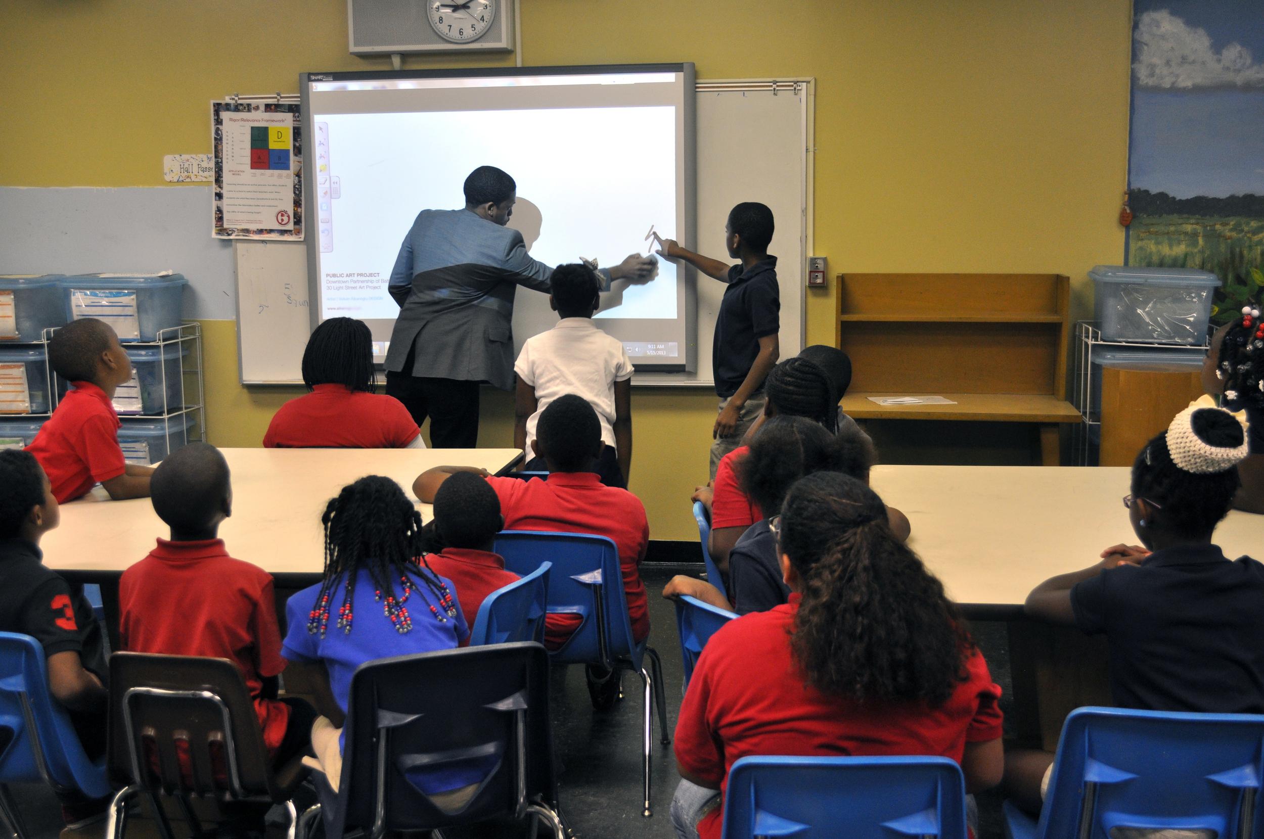 Students take runs drawing their ideas.
