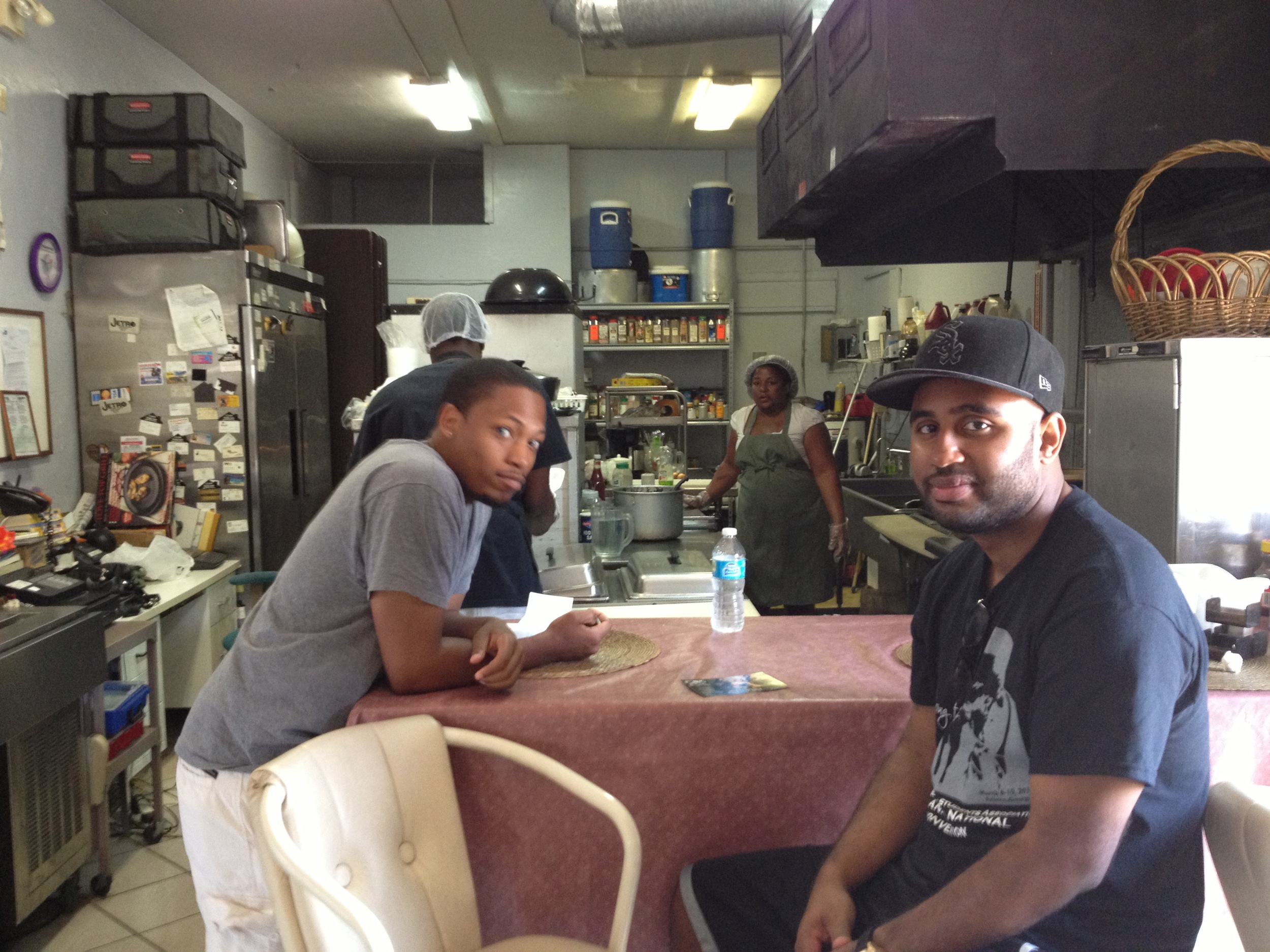 Germane and Dean stop in Family Catering for lunch.