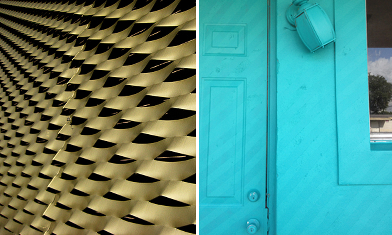 Micro Spaces: Gold metal facade // Public Spaces: Monochromatic exterior paint