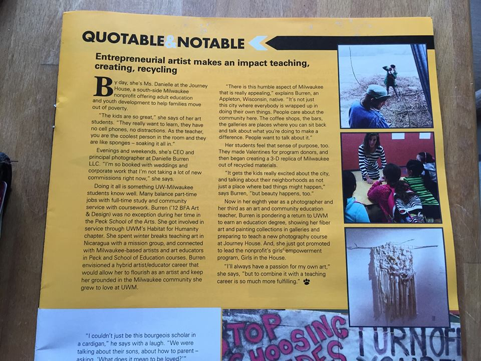 """Feature in University of Wisconsin-Milwaukee  Alumni Magazine 's """"Quotable & Notable"""" section, 2015"""
