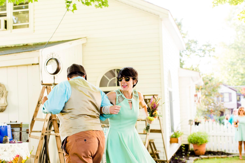 backyard wedding ceremony dancing intro