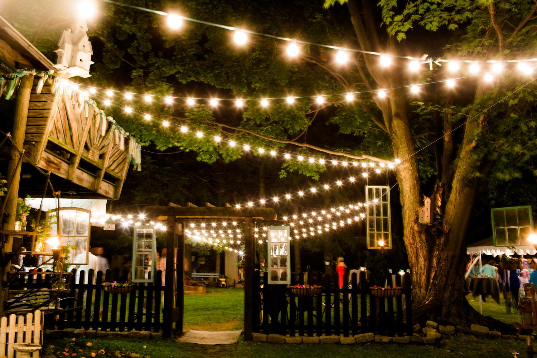 Oswego NY wedding reception lights