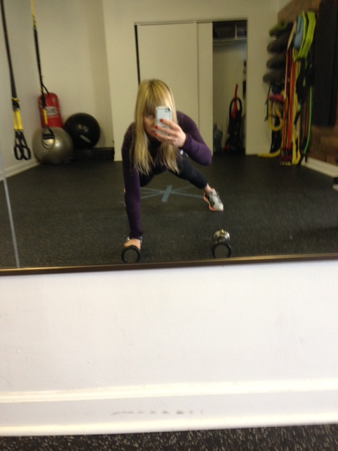 Push Up. I added weights and a single arm row.