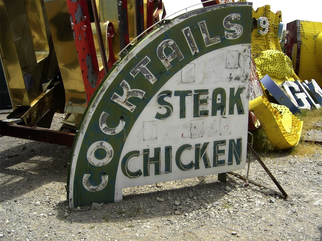 The Green Shack sign advertising what it was famous for: Cocktails and Chicken
