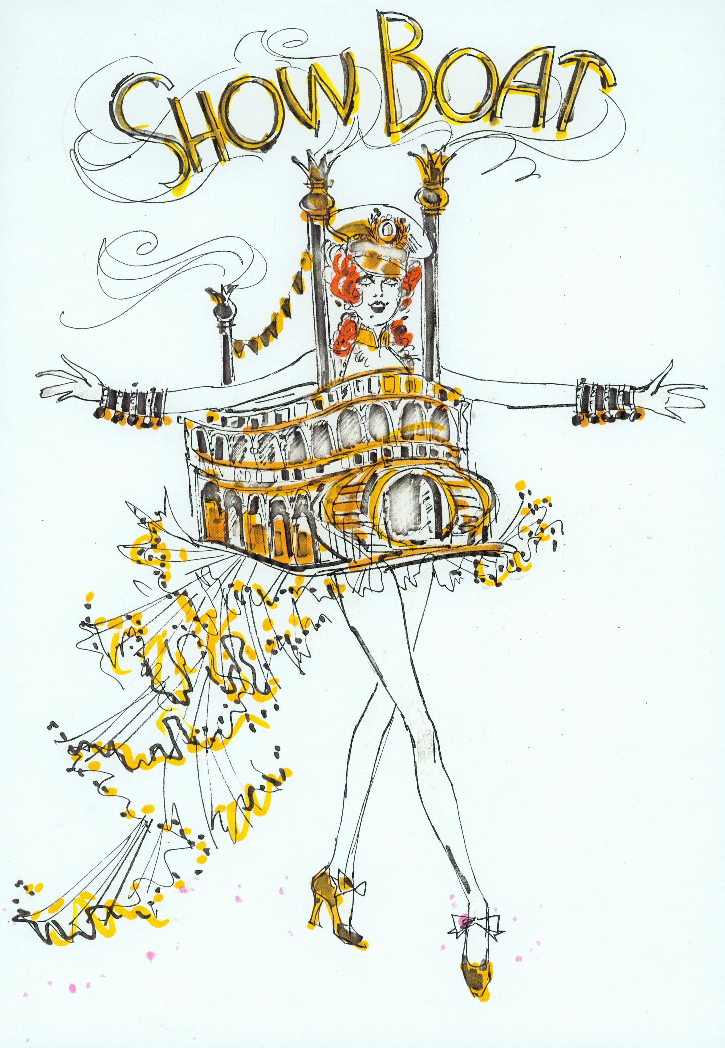 """Costume sketch of """"Showboat"""" costume from Hallelujah, Hollywood! production number Photo courtesy of Karan Feder"""