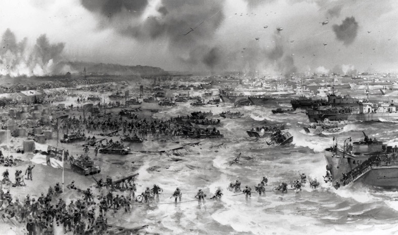Troops hit the beach on D-Day Photo courtesy of HotToddy.com