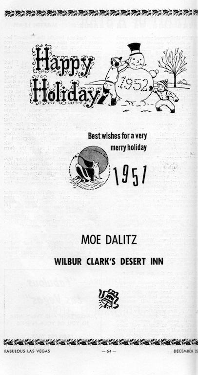 Season's Greetings from Moe Dalitz