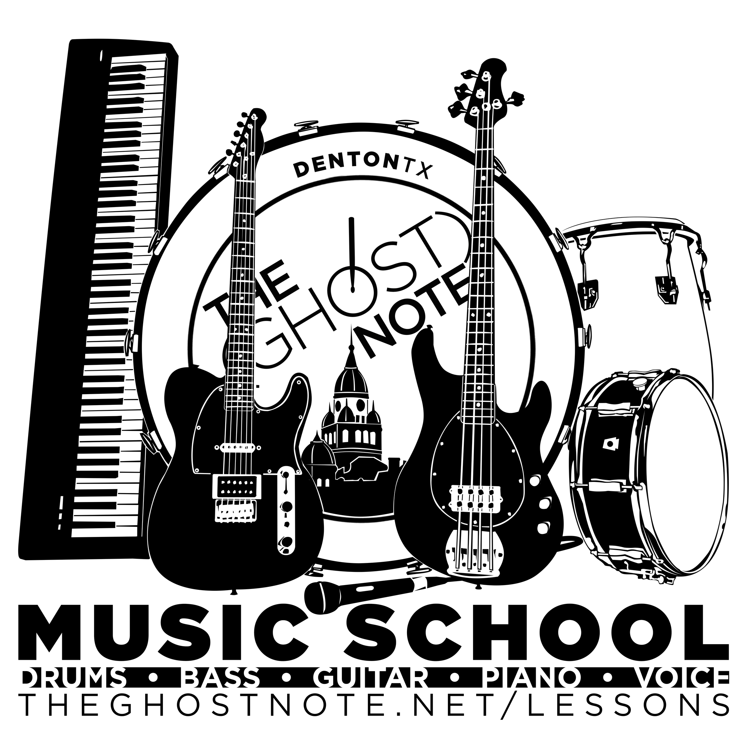 The (Ghost) Note Music School - Denton, TX - Private Lessons Drums Guitar Bass Piano Voice