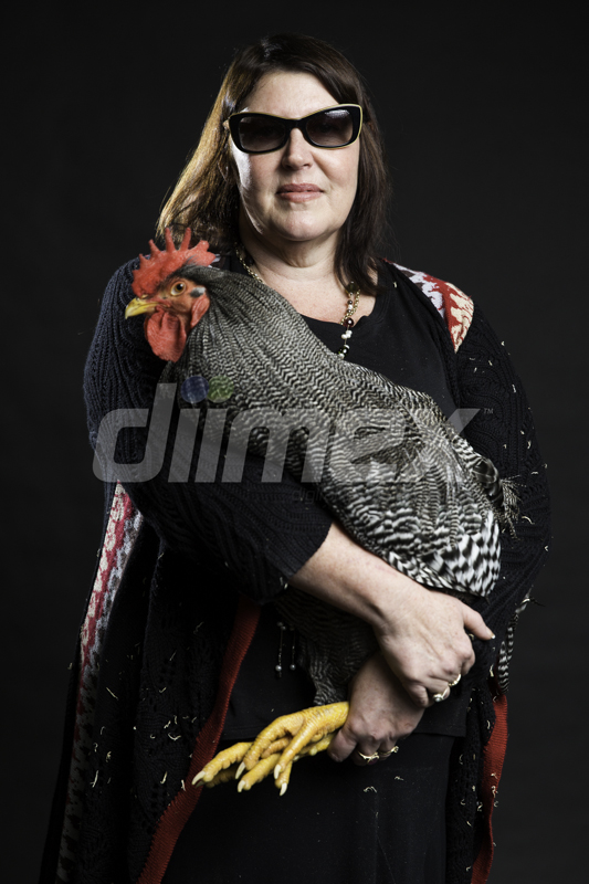 Jo Evans with her rooster.