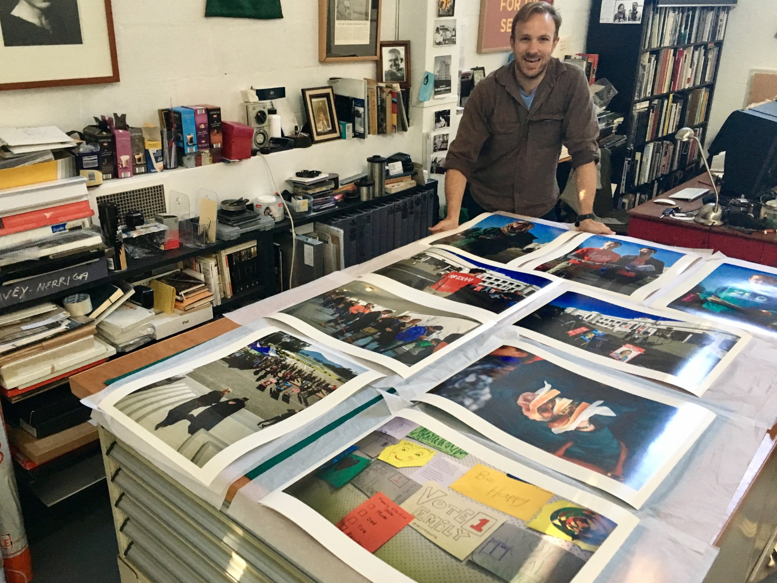 A selection of freshly printed photographs in my studio, destined for the collection of the National Library of Australia. Photo by Michael Cammack.