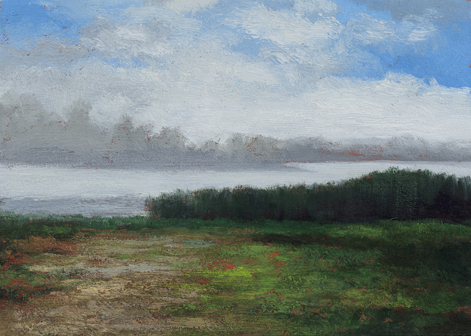 Misty Lake 5x7 by M Francis McCarthy, Oil on Wood Panel